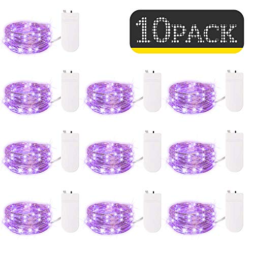10 Pack Fairy Lights 7 Feet 20 LED Firefly Lights Battery Operated String Lights Silver Coated Copper Wire Starry Moon Lights for DIY Wedding Bedroom Indoor Party Decoration (Purple)