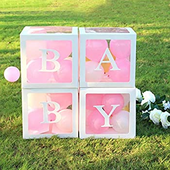 Bellac Blocks for Baby Shower - Set of 4 - Clear Baby Block Boxes with Baby Letters Party Decoration - Transparent Ballon Boxes Backdrop - Baby Shower & Birthday Party