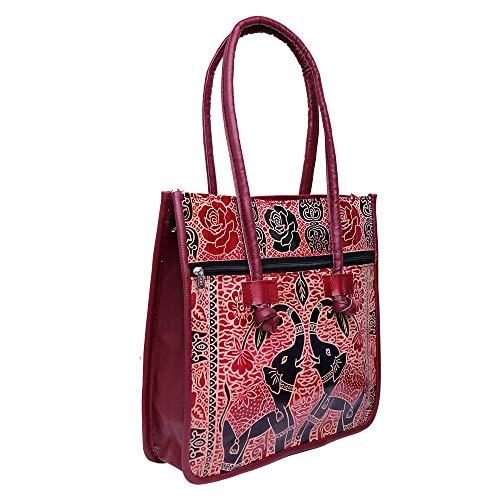 Lonika Leder-Handtaschen für Damen, Vintage, lässig, Schultertaschen für Damen, Hobo-Tasche, Geldbörse, groß, mit Elefant, Rot - kastanienbraun - Größe: Large