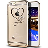 iPhone SE Case,iPhone 5S Case,ikasus Mini Love Heart Glitter Bling Crystal Rhinestone Diamonds Clear Rubber Golden Electroplate Plating Frame TPU Soft Silicone Bumper Case for iPhone SE & iPhone 5S 5