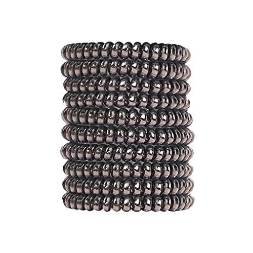 UKtrade - Banda de goma para el pelo resistente y a la moda para mujeres y niñas, diseño de líneas elásticas para teléfono sin rastros, 10 unidades