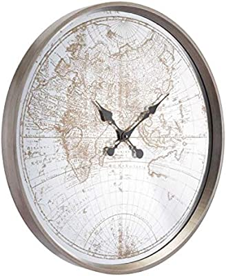 ZUO-Furnitures Hanging Wall Clock Hora Mundial Silver Decor Antique Artistic Wall Clock Rustic