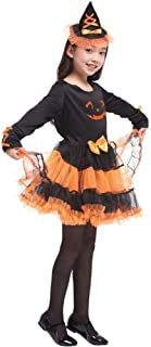 Halloween Kids Dressing Up Costumes, Mask Dance Performance Clothes, Melon Witch Costume Magic Robe (Color : Black, Size : L)