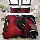 Ropa de Cama - Funda nórdica Músico español rojo y negro Portugal Guitarra temática hecha a mano con tema romántico Patrón Love Ro,Microfibra Nuevo Set de Tres Piezas Funda de edredón 200 x 200 cm