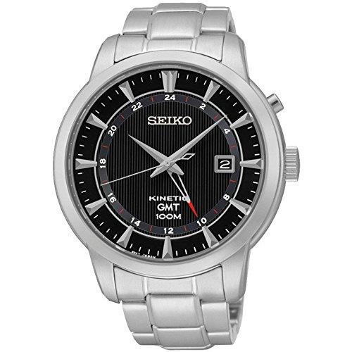 Seiko SUN033P1 Men's Kinetic Gmt,Steel Case & Bracelet,100m WR SUN033
