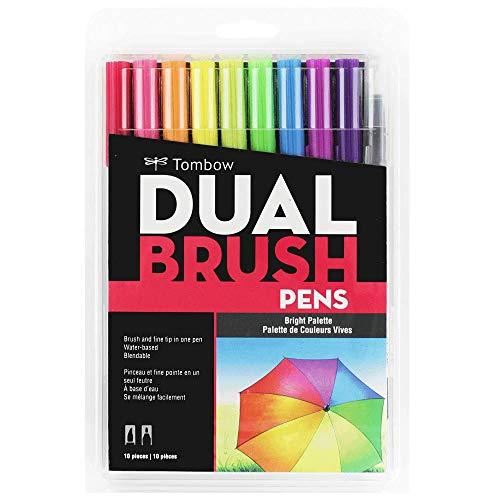 Estojo Dual Brush com 10 Canetas Pincéis, Cores Brilhantes