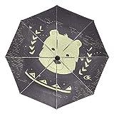 Polar Bear - Paraguas de viaje compacto, plegable, reversible, resistente al viento, protección UV, mango ergonómico, apertura y cierre automático
