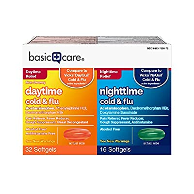 Amazon Basic Care Cold Flu Relief Multi-Symptom Daytime Night time Combo Pack Softgels; Cold Medicine, Nitetime: Green; Daytime: Orange, 48 Piece Assortment, 48 Count