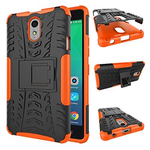 TiHen Handyhülle für Lenovo Vibe P1M Hülle, 360 Grad Ganzkörper Schutzhülle + Panzerglas Schutzfolie 2 Stück Stoßfest zhülle Handys Tasche Bumper Hülle Cover Skin mit Ständer -Orange
