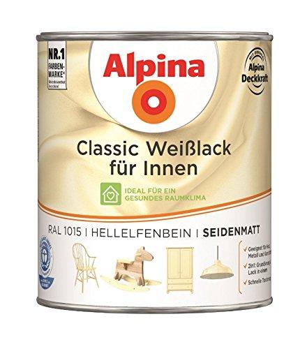 Alpina 750 ml Classic Weißlack für Innen Acryl-Lack, RAL 1015 Hellelfenbein Seidenmatt