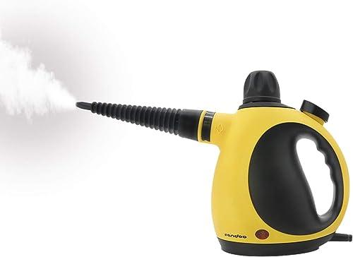 Sandoo スチームクリーナー 350ml ハンディクリーナータイプ 洗剤不要 スチーム 窓掃除 お風呂 キッチン周り トイレ 付属品9点付き 多用途 消臭 カビ SC1110