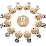 12 Stücke Schnullerclip, Natürlich Holz Baby Schnuller Clips, schnullerketten clip, schadstofffrei Nuckelclip Baby Clip, Dummy Nippel Halter für Baby und Kind (12 Stücke)