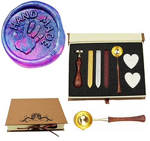 MNYR HANDMADE Monogram with Hand Wax Seal Stamp Kit Wooden Handle Melting Spoon Candle Gift Box Set- Ideal for Decorating Gift Packing, Envelope, Parcel, Cards, Letetrs, Wedding Invitations Seal Stamp