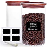 Tzerotone Glass Coffee Bean Storage Containers,2 Piece 60oz Thicken Airtight Food Canisters with Acacia Lid and Labels,Stackable Large Glass Jar for Ground Coffee, Rice, Cookie, Tea, Flour, Sugar