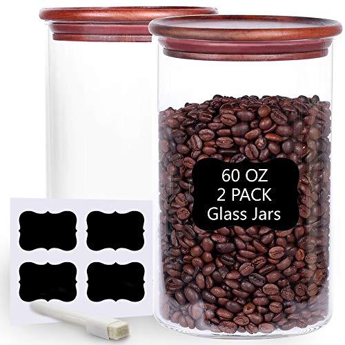 Tzerotone Set mit 2 großen Vorratsgläsern aus Glas, 180 ml, luftdichter Behälter mit Bambusdeckel und Etiketten, stapelbare Küchenbehälter für Tee, Mehl, Zucker, Kaffee, Gewürze, Pasta