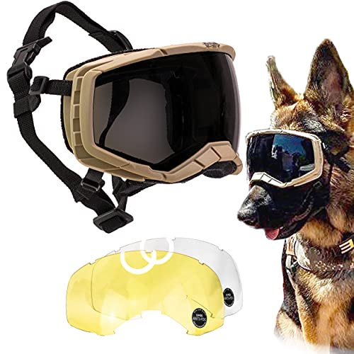 K9 Dog Goggles Tactical Protection Police Exceed Military Standards, Large (Army Brown)