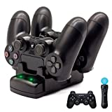 PS4/PS3 Controller Charger, BRHE Playstation 4/PS4 Pro/PS4 Slim/PS3/PS3 Move Controller Charger Charging Docking Station Stand USB Fast Charging Station for Sony PS4/PS3 Controller-Black