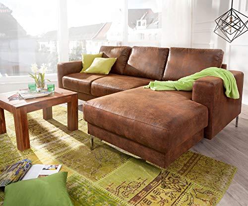 DELIFE Eckcouch Silas Braun Antik Optik 235x147 cm Ottomane Rechts Designer Ecksofa