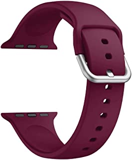 Haotop Bands Compatible with Apple Watch(Watch Not Included),Soft Silicone Strap Compatible for iWatch Series 5/4/3/2/1 (42mm/44mm, Wine Red)