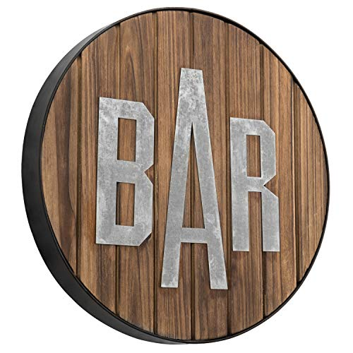 MyGift Rustic Round Burnt Wood & Galvanized Bar Sign Wall Decor