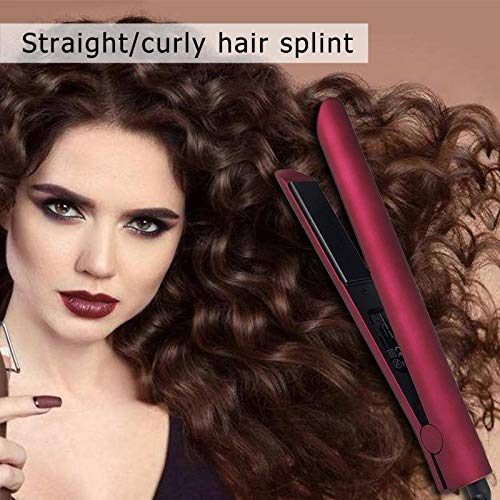 JIASHANHAO 2 in 1 Hair Straightener Flat Hair Tourmaline Ceramic Flat Iron (Color : Red)