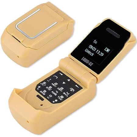 Mavis Laven Teléfono Flip Teléfono Desbloqueado, Mini Teclado Flip portátil Teléfono móvil Tarjeta SIM Dual Teléfono Celular Fácil de Usar Teléfono ...