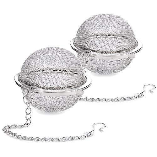 2PCS Stainless Steel Mesh Tea Ball Infuser, Siasky Loose Leaf Tea Infuser Strainers 2.1 Inch Strainers Interval Diffuser for Natural Tea & Seasoning Spices