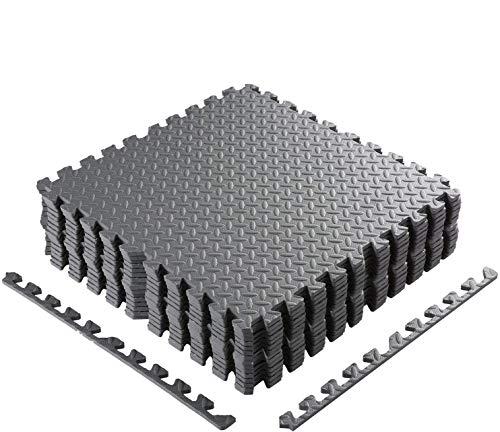COMOTS - Tappeto di Protezione da Pavimento, 60 x 60 cm, lastre in Schiuma + 2 Bordi per Materasso Puzzle, per Fitness, Fitness, Palestra, Sollevamento Pesi, Spessore 1 cm, Gris-48