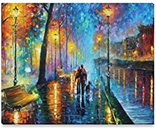 Walk a rainy night Oil Painting Framed Canvas Prints Wall Art For Wall And Home Decor,20x16 Inches