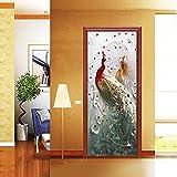 DFKJ Adesivi per Porte Decorazione Paesaggio Impermeabile Porta di casa Vecchia Porta Decorazione per guardaroba Adesivi Decorazione per la casa A11 95x215cm