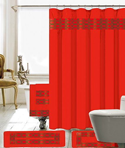 BH Home & Linen 18 Piece Embroidery Banded Shower Curtain Bath Set 1 Bath Mat 1 Contour 1 Shower Curtain 12 Matching Fabric Shower Rings 3 Pcs Matching Towel Set 100% Polyester (Red)