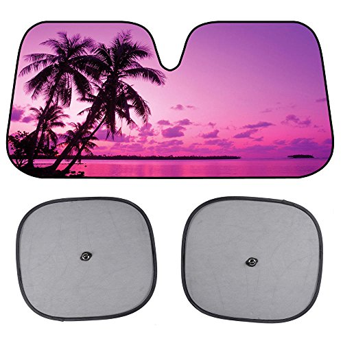 BDK Pink Purple Sunset Beach Front Windshield Sun Shade & Side Window Shades-Accordion Folding Auto Sunshade for Car Truck SUV - Blocks UV Rays Sun Visor Protector - Keeps Your Vehicle Cool - 58 x 28 Inch, Pink Sunset