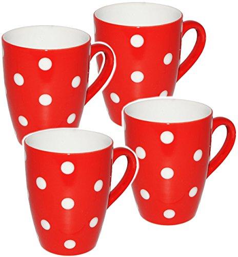 alles-meine.de GmbH 2 Stück _ Kaffeetassen / Henkeltassen -  Punkte - ROT & weiß  - groß - 300 ml - Keramik / Porzellan - Teetasse - Mikrowellengeeignet - Trinktasse mit Henkel..