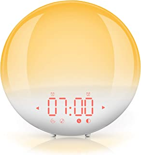 Wake Up Light, FM Radio Despertador Digital de Luz con Simulador de Amanecer con lámpara LED 6 Sonidos Naturales, 20 Tonos, 20 Brillos, Alarma Dual, 12/24 Hrs, Snooze, Puerto USB (Blanco)