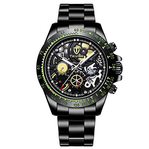 JTTM Reloj Mecánico Automático para Hombre, Manecillas Luminosas, Esfera Hueca, 3 ATM, Resistente Al Agua, Reloj Deportivo,Negro