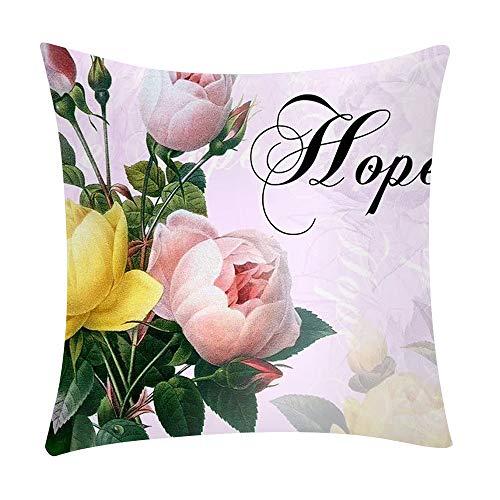 Sylar Funda de Almohada, Lino Funda de Almohada Decorativa, Funda de Estampado de Flores para Sofa Cama, IFunda de Almohada para el día de San Valentín