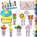 SPECOOL Kit De Manualidades De Campanas De Viento para Niños, Bata De Arte Impermeable con Pinceles, Herramienta De Pintura para Niños, Regalos De Cumpleaños para Jardín De Infantes, Escuela, Hogar