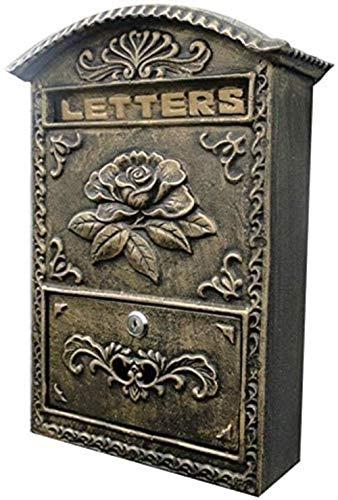 YONGYONGCHONG brievenbus brievenbus antieke brievenbus, retro wandmontage Mailbox, strijkijzer, bruin-wijnoogst buitenbrievenbus postbox veilige brievenbus buiten mailboxes veiligheidspostvak