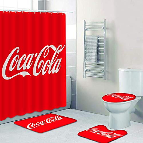 Bathroom 4 Pcs Coca-Cola Combination Set Shower Curtain+Non-Slip Mat + U-Shaped Contour + Toilet Cover, Waterproof Wear Durability, Shower Curtain with 12 Hooks