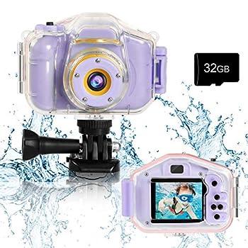 Agoigo Kids Waterproof Underwater Camera Toys for 3-12 Year Old Boys Girls Christmas Birthday Gifts Children HD Video Digital Cameras 2 Inch IPS Screen with 32GB Card  Purple