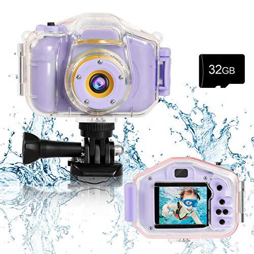 Agoigo Kids Waterproof Underwater Camera Toys for 3-12 Year Old Boys Girls Christmas Birthday Gifts Children HD Video Digital Cameras 2 Inch IPS Screen with 32GB Card (Purple)