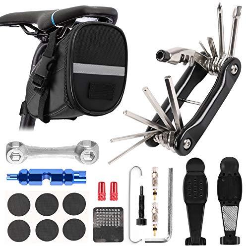 Odoland Fahrrad Werkzeug 10 IN 1 Fahrrad Reparatur Set umfassen Fahhradtasche und Werkzeugsets und Fahrradventil Adapter die Fahrrad-Reparatur und Reifen Mountainbike Reparatur Set