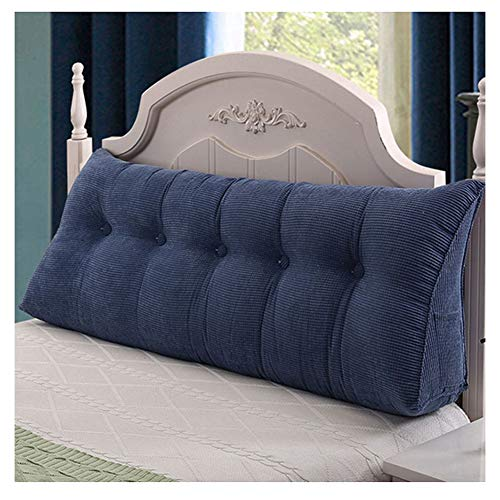 Grande Cuscino a Cuneo Schienale Triangolo Tatami Morbido cuscino per divano letto,Staccabile cuscino Divano per testiera di supporto per il posizionamento lombare da lettura Denim Blu 180*50*23cm