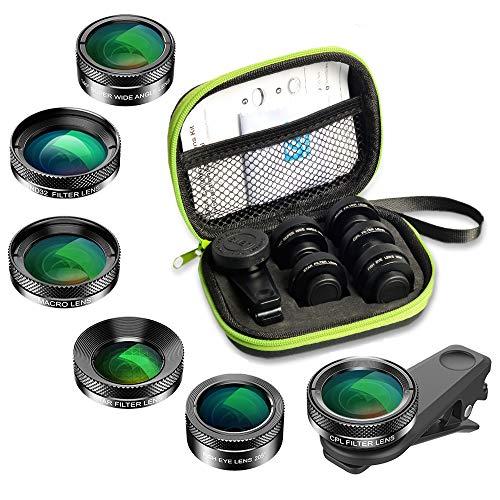 APEXEL 6 in 1 Kit obiettivo fotocamera con obiettivo fisheye 210 ° + 2x teleobiettivo + grandangolo 120 ° e filtro macro + macro 15x e CPL per iPhone Samsung e la maggior parte degli smartphone