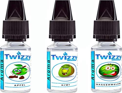3 x 10ml Twizzy Zippy Aroma Bundle   Apfel, Kiwi, Wassermelone   Aroma für Shakes, Backen, Cocktails, Eis   Aroma für Dampf Liquid und E-Shishas   Ohne Nikotin 0,0mg   Flav Drops