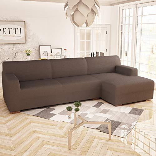 PETTI Artigiani Italiani Sofa Longue, Funda Elástica, 100% Made in Italy, MARRÓN, 2 Plazas (200cm) Chaise Izquierdo