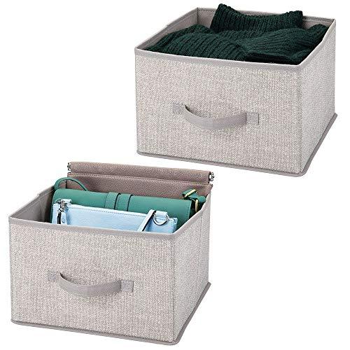 mDesign 2er-Set Aufbewahrungsbox aus Stoff – für Ordnung im Kleiderschrank – Stoffkiste für Kleidung, Decken, Accessoires und mehr – hellgrau
