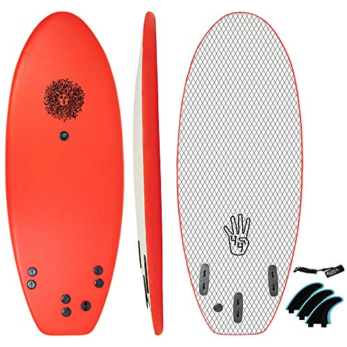 KONA SURF CO. The 4-4 Surfboard for Beginners Kids and Adults - Soft Top Foam Surfboards for Beach – Surf as a Boogie Board Bodyboard or Softboard - Includes Fins and Leash in Red sz:4ft 4in