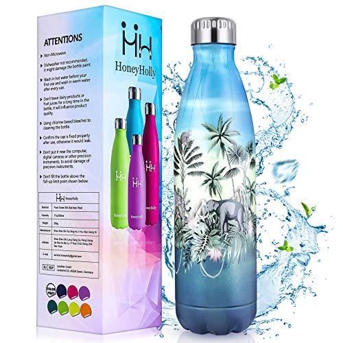 HoneyHolly Botella Agua Acero Inoxidable 500ml, Botella Termica Niños Reutilizable sin BPA, Botellas Aislamiento de Vacío de Doble Pared para Hogar, Cocina, Café, Oficina, Escuela, Bicicleta