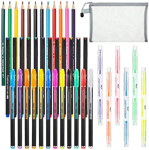 43 Pieces Bible Journaling Planner Pen Supplies Kit Colored Thin Point Markers Colored Pencils product image
